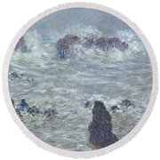 Storm Off The Coast Of Belle Ile Round Beach Towel