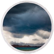 Storm On Karakul Lake Round Beach Towel