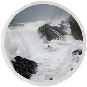 Storm On The Oregon Coast 2 Round Beach Towel