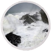 Storm On The Oregon Coast Round Beach Towel