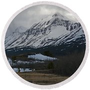 Storm On The Rocky Mountain Front Round Beach Towel