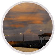 Storm Over Ballast Point Round Beach Towel
