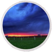 Storm Over Farm Country Round Beach Towel