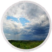 Storm Over Foothills Round Beach Towel