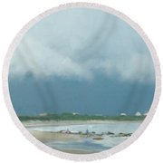 Storm Over Goosewing Round Beach Towel