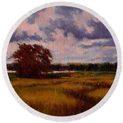 Storm Over Marshes Round Beach Towel