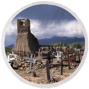 Storm Over Taos Graveyard Round Beach Towel