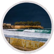 Storm Over The Aegean Round Beach Towel