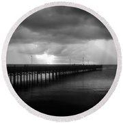Storm Over The Anclote Round Beach Towel