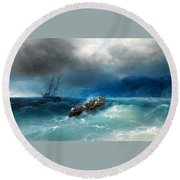 Storm Over The Black Sea Round Beach Towel