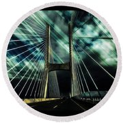 Storm Over The Bridge  Round Beach Towel
