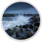Storm Over The Jetty 1 Round Beach Towel