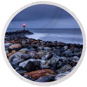 Storm Over The Jetty 2 Round Beach Towel