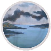Storm Over The Lake Round Beach Towel
