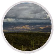Storm Over The Mountains Of Arizona Round Beach Towel