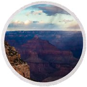 Storm Passes The Grand Canyon Round Beach Towel