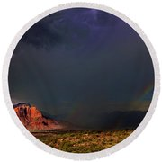 Storm Rainbow Back Of Zion National Park Utah Round Beach Towel