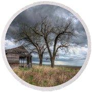 Storm Sky Barn Round Beach Towel