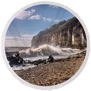 Storm Tide Cliffs End Round Beach Towel