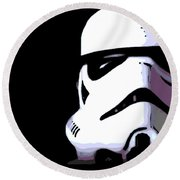 Storm Trooper In Black And White Round Beach Towel