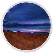 Stormline Above Mountains Round Beach Towel