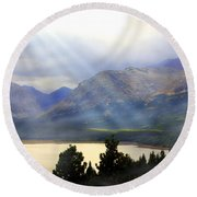 Storms A Coming-lower Two Medicine Lake Round Beach Towel