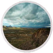 Storms And Cliffs Round Beach Towel