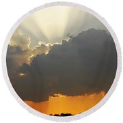 Storms Building At Sunset Round Beach Towel