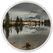 Storms Over Talbot Lake Round Beach Towel