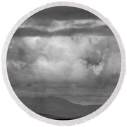 Storms Over The Cargo Ship - Black And White Round Beach Towel
