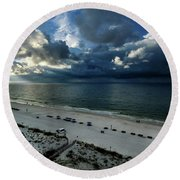 Storms Over The Gulf Of Mexico Round Beach Towel