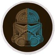 Stormtrooper Helmet - Star Wars Art - Brown Blue Round Beach Towel