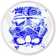 Stormtrooper Mask Blue 1 Round Beach Towel