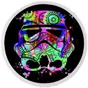 Stormtrooper Mask Rainbow 6 Round Beach Towel