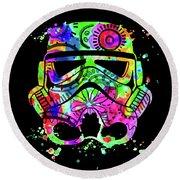 Stormtrooper Mask Rainbow 8 Round Beach Towel