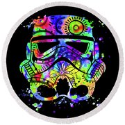 Stormtrooper Mask Rainbow 9 Round Beach Towel