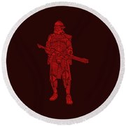 Stormtrooper Samurai - Star Wars Art - Red Round Beach Towel