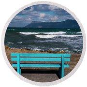 Stormy Aegean Sea Round Beach Towel