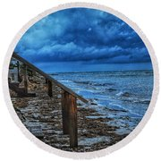 Stormy Backyard  Round Beach Towel