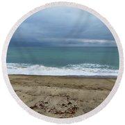 Stormy Beach Round Beach Towel