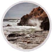 Stormy Beach Waves Round Beach Towel