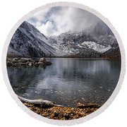 Stormy Convict Lake Round Beach Towel