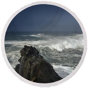 Stormy Day At Sunset Bay Round Beach Towel