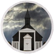 Stormy Day At The Black Church Round Beach Towel