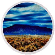 Stormy Day In Taos Round Beach Towel