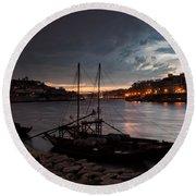 Stormy Evening Sky Above Porto And Gaia Round Beach Towel