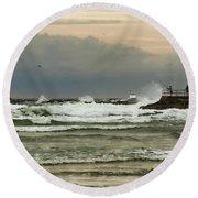 Stormy Fishing Round Beach Towel