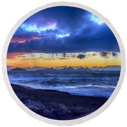 Stormy Icelandic Sunset Round Beach Towel