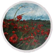 Stormy Poppies Round Beach Towel