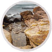 Stormy Rock Beach Round Beach Towel